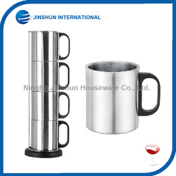 4 Pcs Stainless Steel Coffee Mug Set with stand Stackable Cups