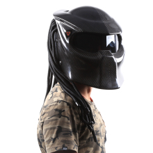 2017 cool Motorcycle carbon fiber full face Helmet for kawasaki 250 300 R15 Predator iron man Safety High quality black visor