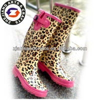 Adjustable sex leopard rubber rain boot manufacturer woman boot
