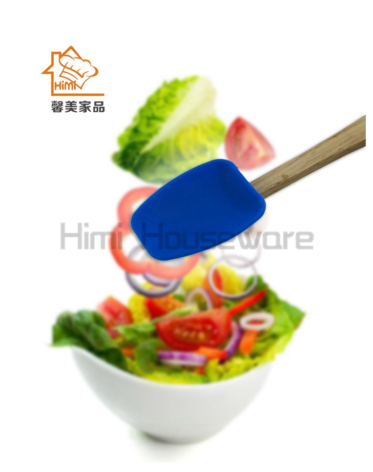 HIMI mini silicone turner pizza turner heatproof silicone cake turner for kitchen tools with wooden handle