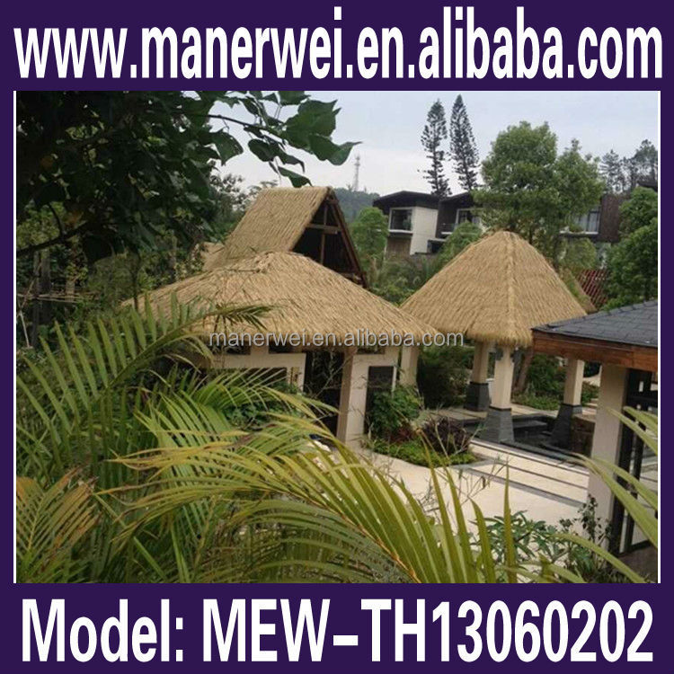 Realistic life-like palm gazebo leaves roof aluminum fireproof thatch roofing