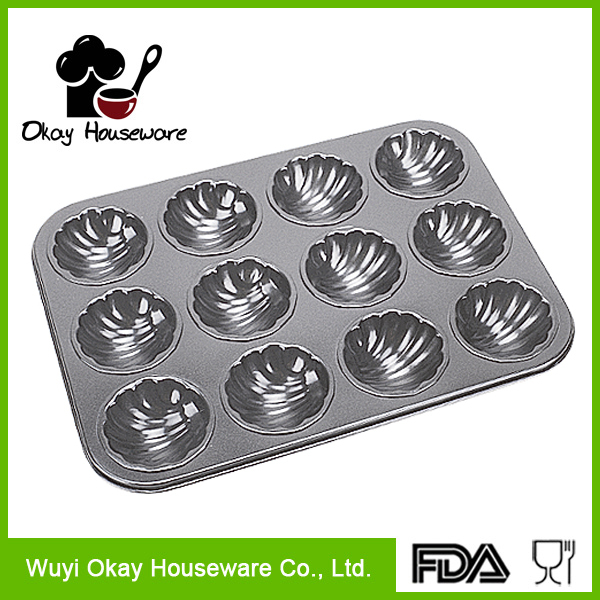 12 cups cake mold metalic mini cupcake baked goods pan(BK-B1212)