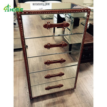 Leather Finishing Edge and Handle Mirrored Home Decorative Tall Boy Chest with 5 Drawers