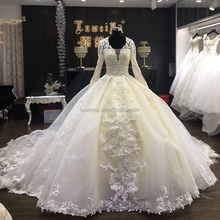 OEM Custom Hand Made Long Sleeve Muslim Wedding Dress Lace Beaded Wedding Gowns Philippines