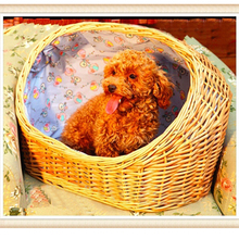 lovely pet bed basket made of wicker