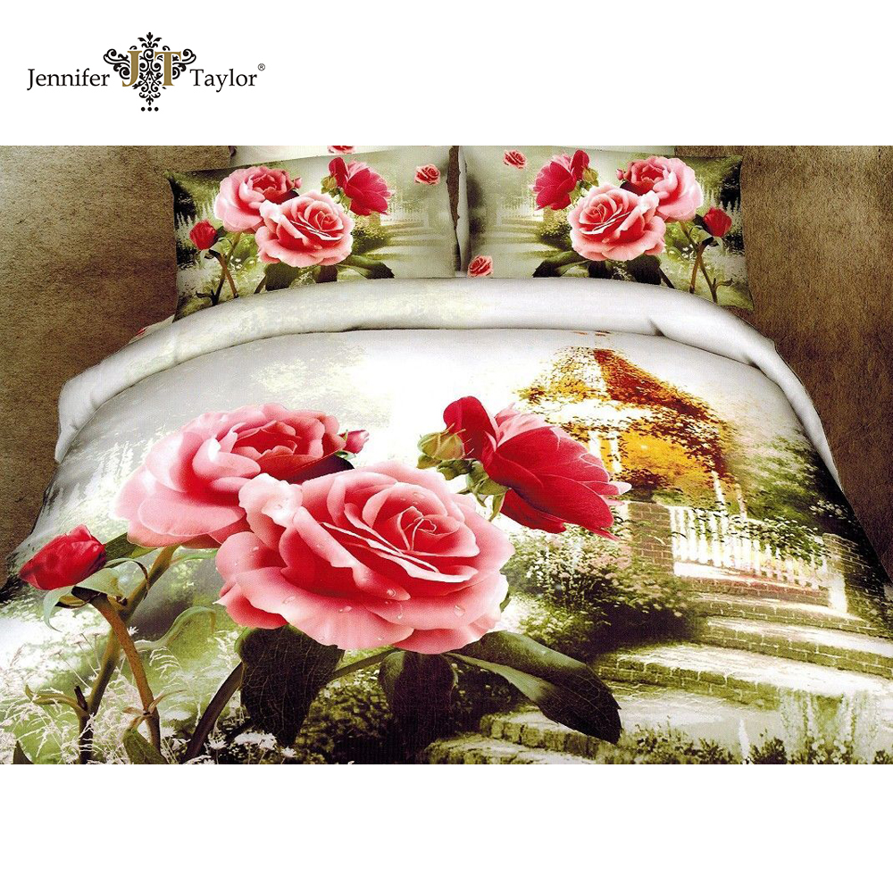 3d duvet cover set /softtextile 3d bed sheet set in a bag/ reactive printing cotton bedding set 3d