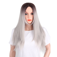 Best Quality grey color synthetic hair wigs