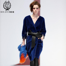 Simple Design Sheep Fur Skin Overcoat Hollowed Sheep Fur Sheared Jacket Sexy V Collar Fur Garment With Leather Belt