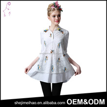 Promotional Products Wholesale Price Embroidery Cotton Shirt Collar Lady Fashion 3/4 Sleeve Blouse