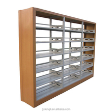 Metal library double side book shelf, used library shelving, steel library shelves