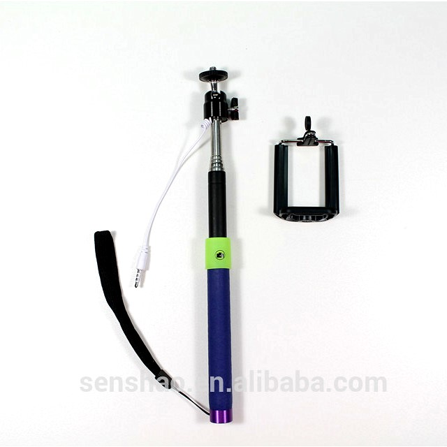 Fashion Extendable Selfie Stick With Tripod, Cable Take Pole Wired Mini Monopod Selfie Stick For Cell Phone