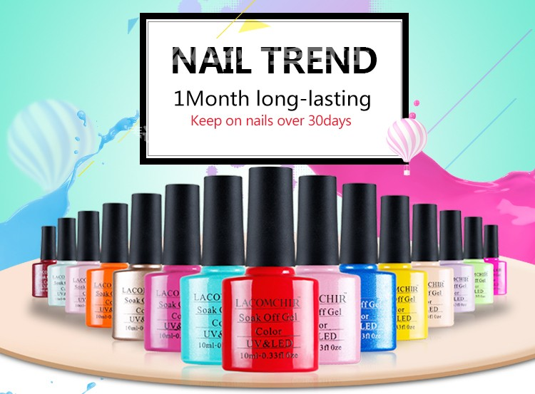 LACOMCHIR Latest Colorful OEM and ODM Welcome Gel Polish ,Top Selling Nail Polish ,Easy Soak off UV Gel Nail Polish