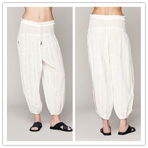 2015 Summer Boho Clothing Ruffle String Waist Cotton Loose Fitted Women Plain Sweat Jogger Pants NT6233