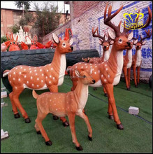Large cartoon deer painted fiberglass resin sculpture crafts