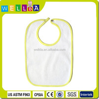Fashion Terry toweling plain color waterproof white baby bib with snap
