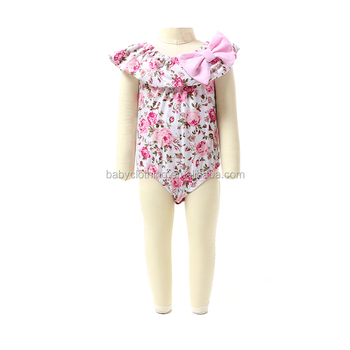 2017 fashion girls clothing pink floral newborn baby girls boutique romper