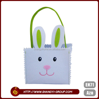 Easter rabbit design polyester felt tote personalized gift bags