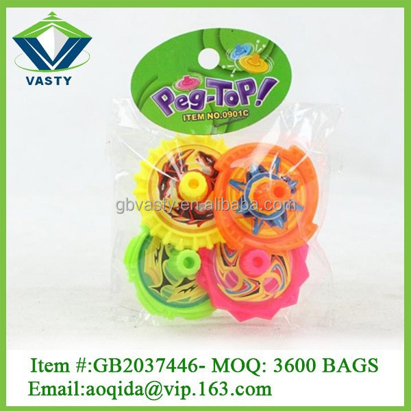 Promotion toy mini hand toy plastic small peg top