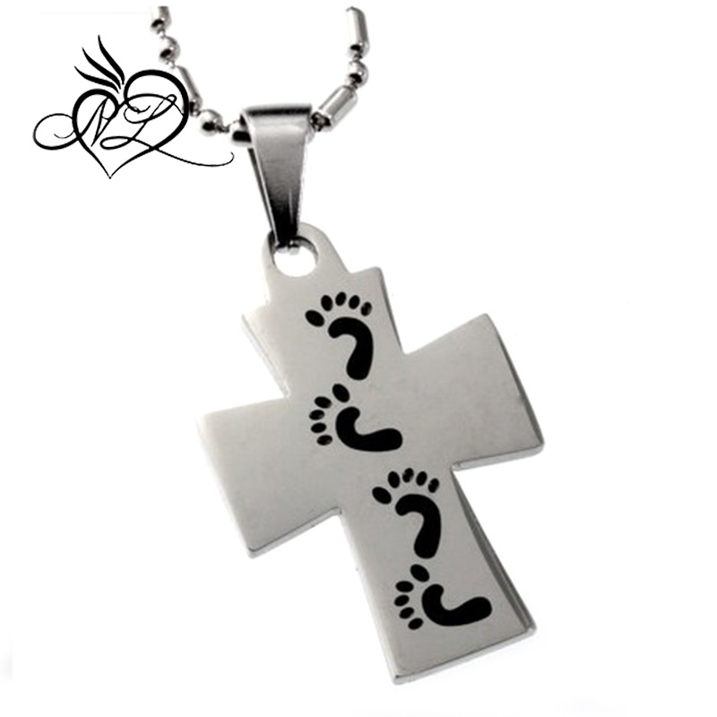 "Footprints in the Sand Cross Pendant, Engraved ""For We Walk By Faith"