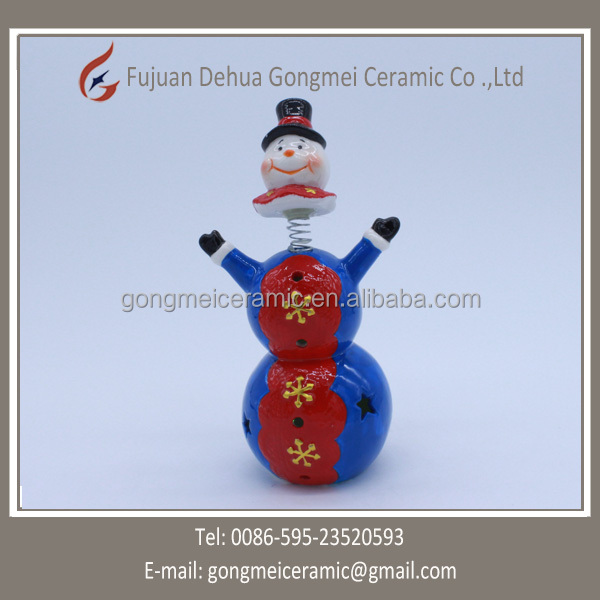 snowman with high hats design high quality ceramic home decoration
