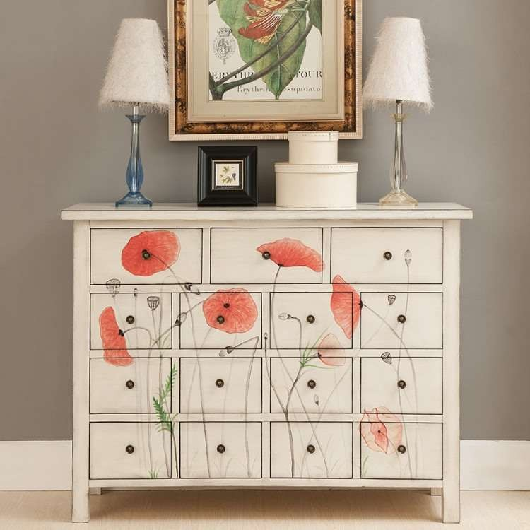 French wooden hobby lobby sideboard <strong>cabinet</strong> with 20 drawers design for drawing living room