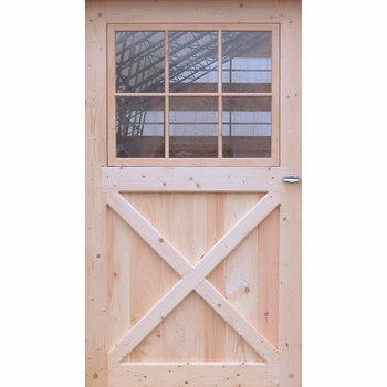 Unfinished two panel x brace solid wood interior barn door for Barn style front door