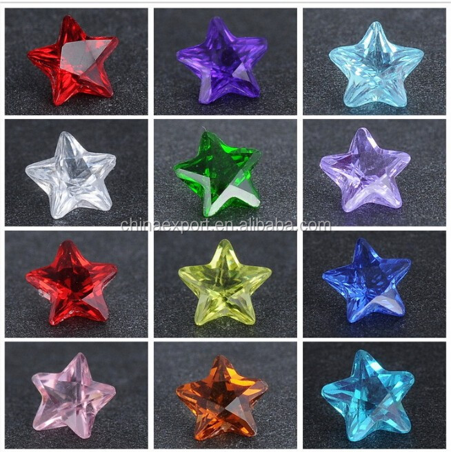 Wholesale Hot Sale Zircon Stone Star Shape Birthstone Charms