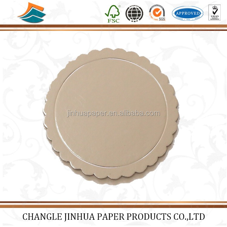 Golden round foil mini cake bases boards with handle/board with good quality