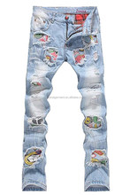 Denim Men's Patchwork Hole Ripped Jeans Fancy Emoji Patch Denim Jeans For Young Boys