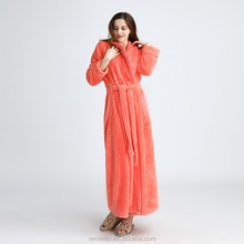 High quality cheap price orange winter bathrobe for women