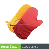 2pcs set cooking work gloves heat resistant red and yellow colour silicone cooking work gloves easily cleaning kitchen tool