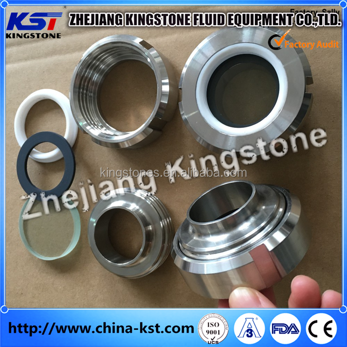 stainless steel sanitary threaded pipe sight glass with square net