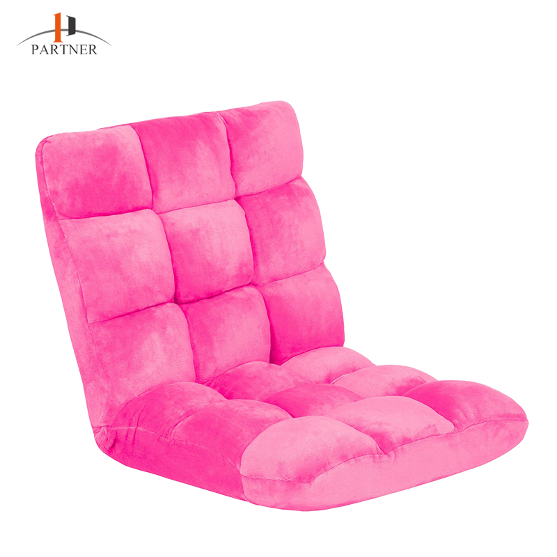 high quality adjustable pink Japanese style no legs fabric living room leisure folding floor chair