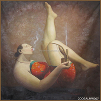 100% handmade Chinese sexy fat nude girl photo on canvas