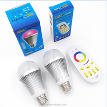 E27 E26 B22 aluminum alloy 9w led light bulb rgb+w 2.4g touch remote control for indoor lighting