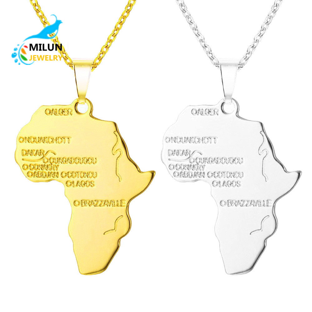Custom Hip-hop Gold Silver Africa map pendant necklace for men