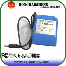 customized capacity Lithium ion 2500mah Rechargeable 12V Battery Pack