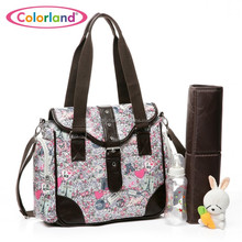 Colorland Coated Canvas Tote Diaper Bag Mummy Bag Baby Changing Bag