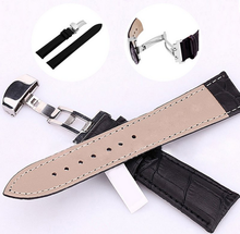 18-24mm Women Watch Band Strap Butterfly Pattern Deployant Clasp Buckle Leather