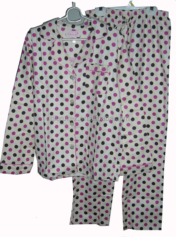 spot printed flannel pajamas, ladies cotton pyjamas, long sleeves long pants pyjama set