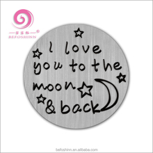 wholesale 30pcs/lot silver back metal plate I love you to the moon back