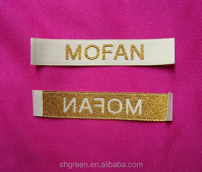 Gloden metal thread brand name garment label/tag