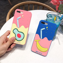cheap unbreakable Cartoon waterproof Fruit drink silicone mobile phone case for iphone 6 7