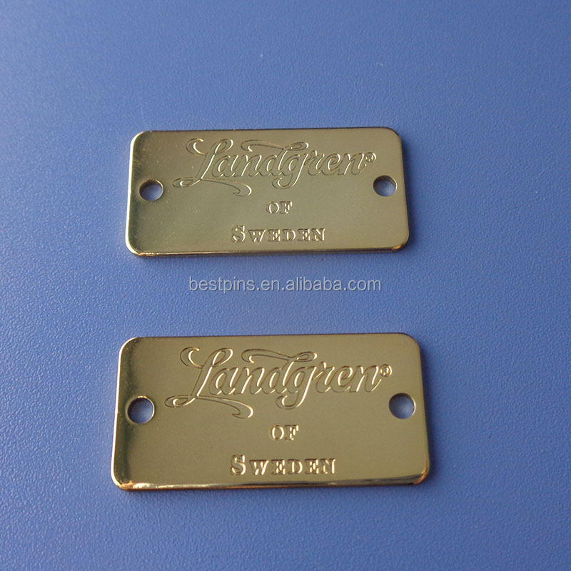 engraved logo gold name plates metal tags with two hole
