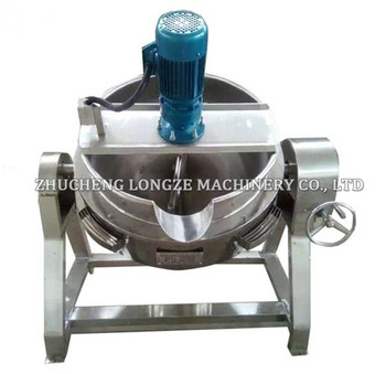 Steam gas cooking jacket kettle with stirrer for making walnut date paste