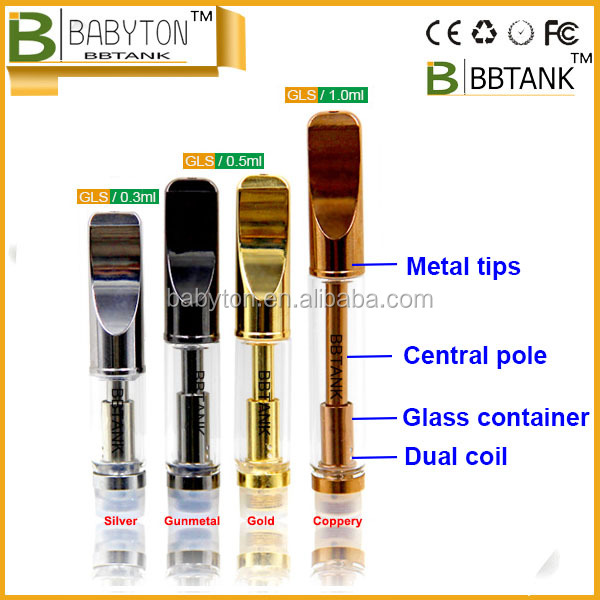 2016 newest ecig 510 refill atomizer oil cbd dual coil glass Cartridge BBTANK GLS Thicker Oil 510 Cbd hemp oil clearomizer