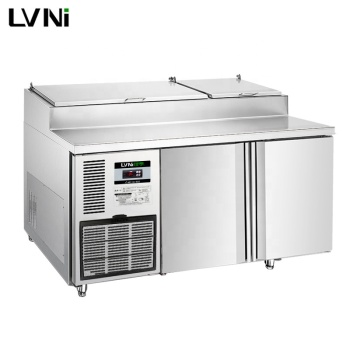LVNI P Series 1.5m 2 doors stainless steel pizza prep tables fridge refrigerator with Embraco compressor