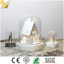 Hot sales christmas glass dome LED lights house style christmas lantern for decoration
