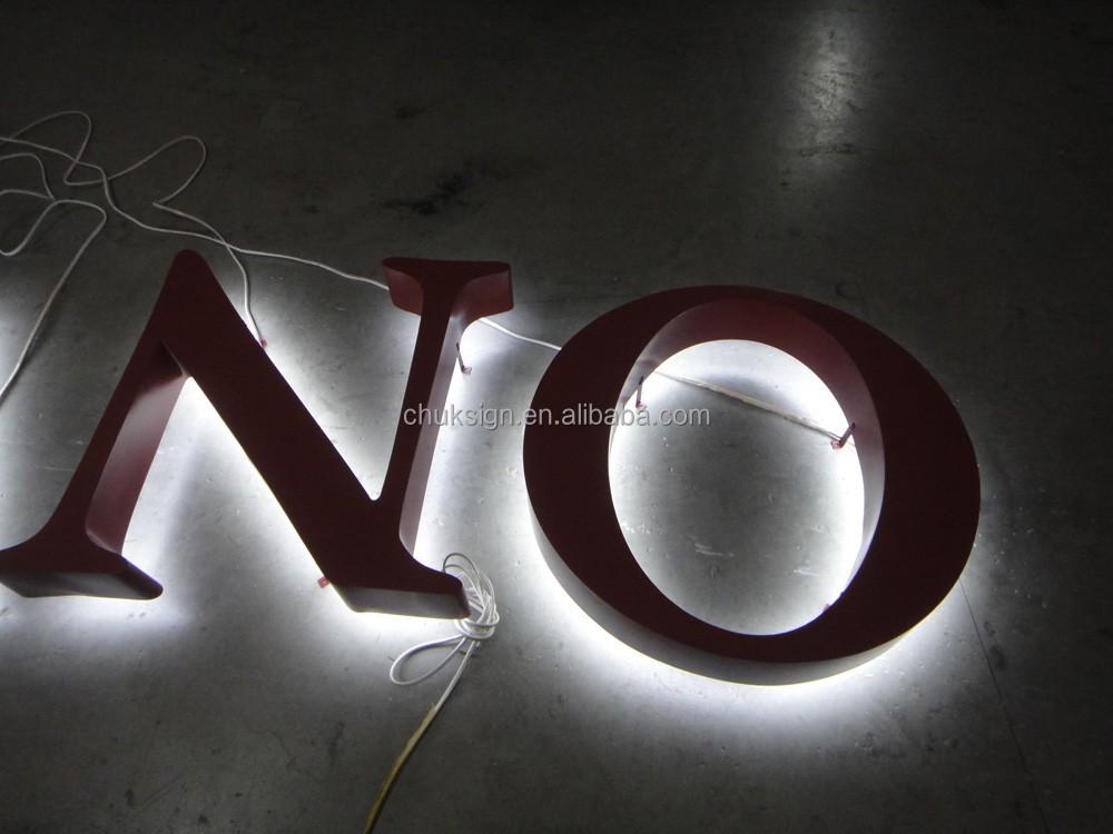 스테인레스 스틸 회사 로고 기호 3d 금속 알파벳 문자 백라이트 ...