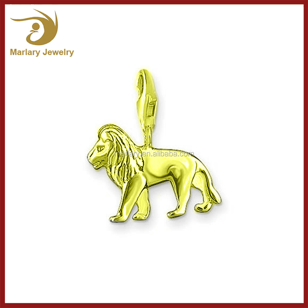 Star Sign Symbol Stainless Steel Lion Charm with Lobster Clasp